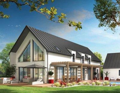 maison contemporaine pergola en bois, toiture en zinc, menuiseries en aluminium